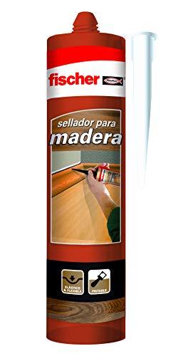 fischer – sellador de juntas Especial Madera Sapelly (tubo de 300 ml) adhesivo para madera, barnizable y pintable, elástico y flexible, sin siliconas ni disolventes, idóneo para carpintería