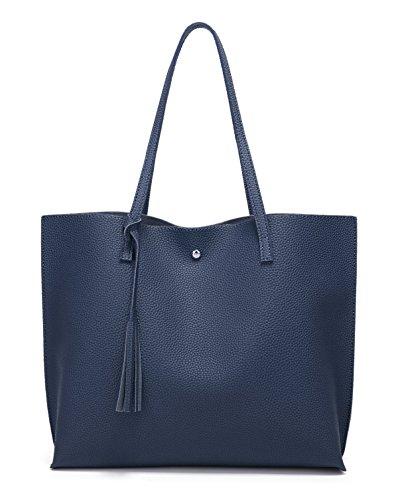 Women's Soft Faux Leather Tote Shoulder Bag from Dreubea, Big Capacity Tassel Handbag Dark Blue
