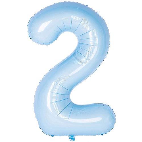 DIWULI, kleine pastell Zahlen-Ballons, Zahl 2, blaue Luftballons zum basteln, Zahlenluftballons, Folien-Luftballons Nummer Nr Jahre, Folien-Ballons 2. Geburtstag, Party, Dekoration, Geschenk-Deko, DIY