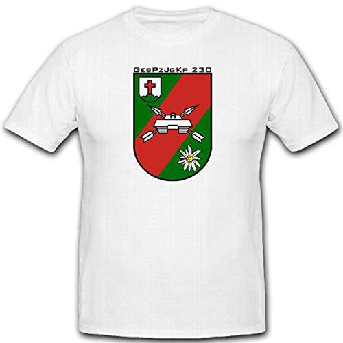 GebPzJgKp Gebirgs Panzer Jäger Kompanie Bundeswehr Heer Wappen Abzeichen - T Shirt #3060, Größe:M, Farbe:Weiß