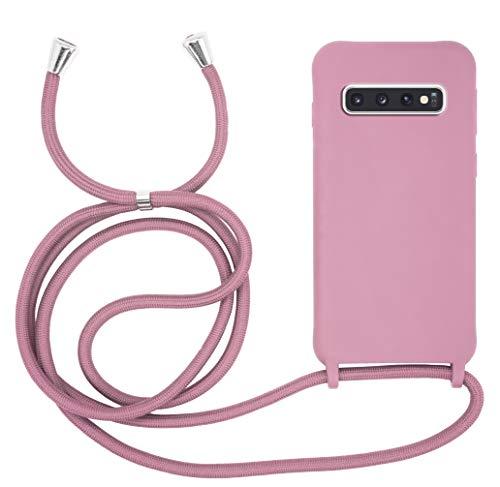 MyGadget Funda con Cuerda para Samsung Galaxy S10 - Carcasa Transparente en Silicona TPU Suave con Cordón - Case y Correa Colgante Ajustable - Color Rosa