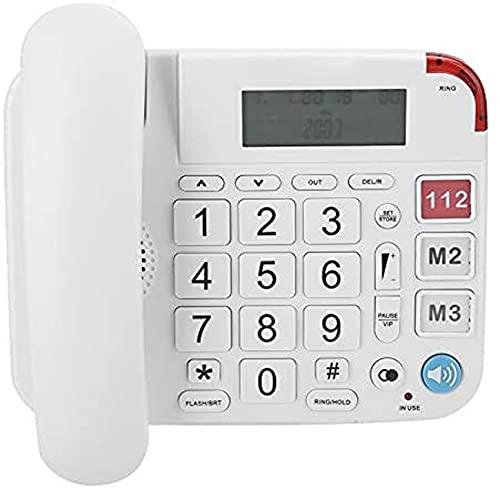 Hjyuik Botón Grande Teléfono para Ancianos, Una Tecla SOS Dial Teléfono Llamadas De Gran Volumen Alto Llamadas LCD ID De Llamada LCD Línea Fija