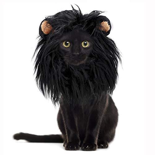 ZDJR Disfraz de Melena de león para Gato y Perro, Ropa de Peluca para Mascotas para la Fiesta de Halloween,Negro
