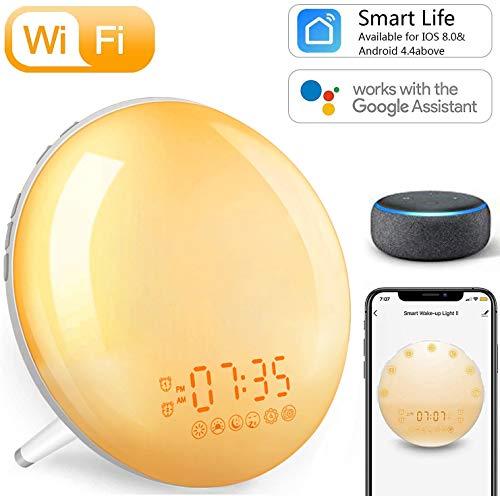 Smart Tageslichtwecker Sonnenaufgang Lichtwecker - Wake Up Licht, 4 Alarme/Snoozefunktion/7 Farben Nachtlicht, Wecker mit Radio für Kinder & Erwachsene