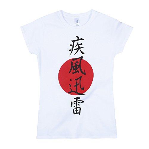 T-shirt japonais Lightning pour femme Kanji Calliraphie Yoga Arts martiaux Japon T-shirt pour femme Blanc - Blanc - Small