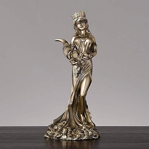 XHCP Estatua de la Diosa de la Suerte Fate Fortune Figurilla, sosteniendo el Cuerno de la abundancia Escultura con los Ojos vendados Diosa de la Suerte Figura Greco-Romana -
