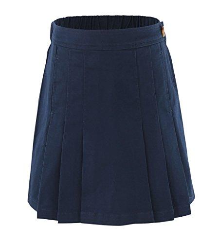 Bienzoe Niña Algodón elástico Uniformes Escolares Plisado Falda Marina 4