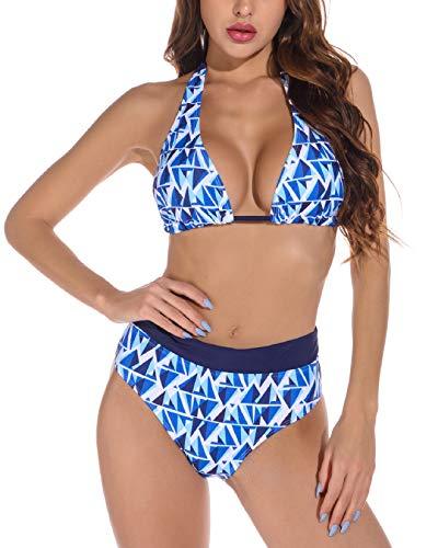 Voqeen Conjuntos de Bikinis para Mujer Push Up Bikini Geometría Traje de baño de Cintura Baja Trajes de baño Adecuado Viajes Playa (Azul & Blanco, S)