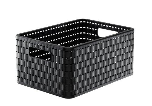 Rotho Country Aufbewahrungskiste in Rattan-Optik, Kunststoff (PP), schwarz, A5+ / 11 Liter (32,8 x 23,8 x 16 cm)