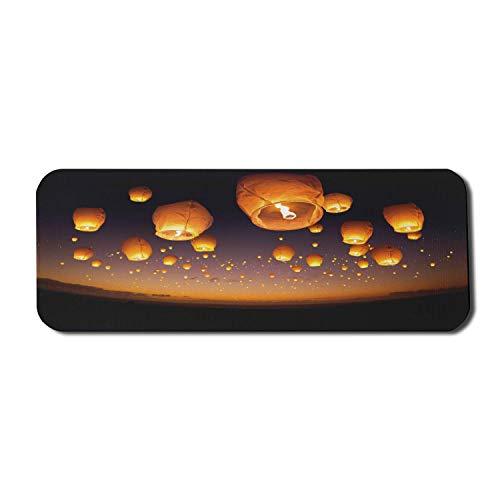 Nachthimmel Computer Mauspad, Zeremonie Wunsch für Glück Luftballons Chinesische fliegende Laternen Landschaft Bild, Rechteck rutschfeste Gummi Mousepad große Orange und Schwarz