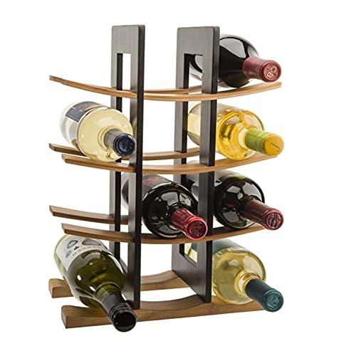 WWWL Estantería de Vino Bambú de Madera Rack de vinos Decoración del hogar Encimitop Rack Bar Cocina Almacenamiento de cenas Rack de Vino Decoración del hogar Encimera (Color : Dark Brown)