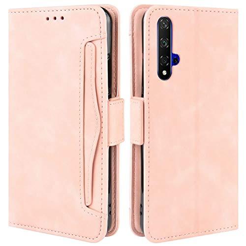 HualuBro Handyhülle für Huawei Nova 5T / Honor 20 Hülle Leder, Flip Hülle Cover Stoßfest Klapphülle Handytasche Schutzhülle für Huawei Nova 5T / Honor 20 Tasche (Pink)