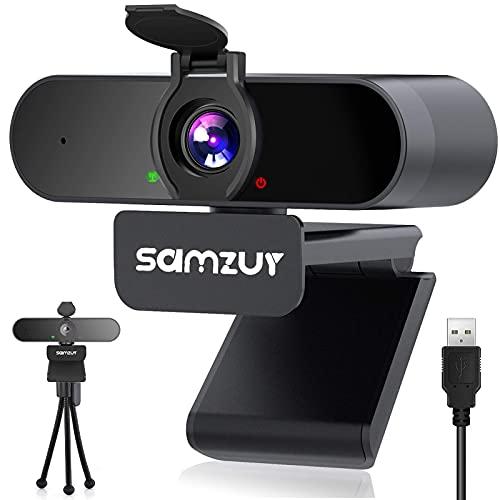 Webcam per Pc Samzuy full HD 1080p con microfono stereo, per Videochiamate e Studio, Conferenza, Lavoro, Compatibile con Windows 7 8 10, Mac e Android