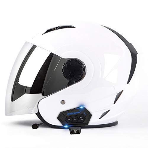 ABDOMINAL WHEEL Casco Moto Jet Hombres Y Mujeres,Casco Bluetooth Moto Abierto con Visera Solar Doble,Adecuado para Hombres Y Mujeres Certificación ECE con Función de Llamada de Voz E,M=57~58CM