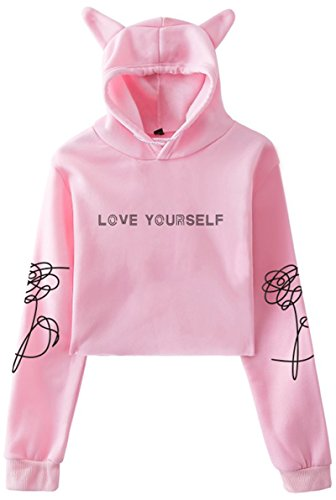 EMILYLE Femme Sweat à Capuche BTS Bangtan Boys Love Yourself Sweatshirt Pull Oreilles de Chat Kpop...