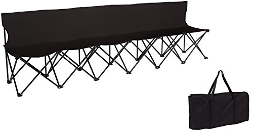 Portable 6-Seater Folding Team Sports Sideline Bench with Back by Trademark Innovations (Black)