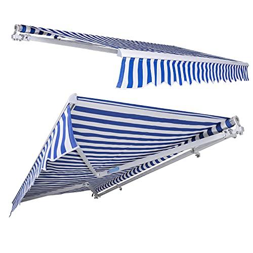 wolketon Gelenkarmmarkise 300 cm, Markise mit Kurbel, Sonnenschutz, Anti-UV und wasserfest, Blau Weiß, 295 x 250 cm, Anti-UV und wasserfest, fur Terrasse oder Garten