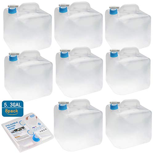 Collapsible Water Storage Container - 5 Gallon Camping Water Container Portable Folding Water Cube Emergency Water Storage BPA Free, 8 Pack