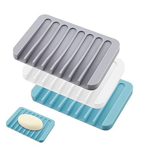 TATAFUN Silikon Seifenschale mit Ablauf, 3 Stück Kreative Selbstleerend Silikon Dusche Seifenhalter Seifenablage, Seifenkiste Für Seife Scrubber Schwämme