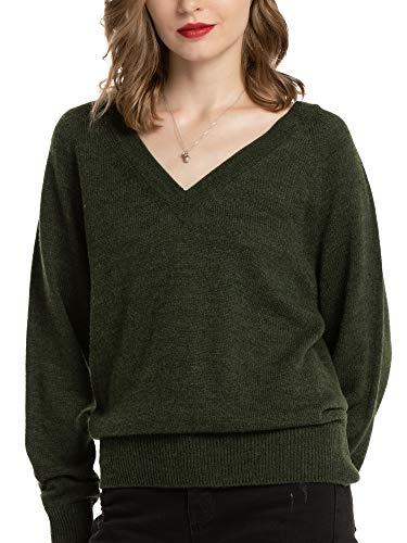 Woolen Bloom Maglione Donna Felpa Donna Elegante Pullover Donna con Scollo a V Sweatshirt con Manica Lunga per Autunno e Inverno, Verde, XL