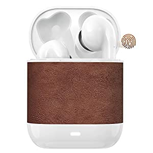 HWCONA Retro Leather Wireless Earbuds, 5.2 Bluetooth Earbuds Touch Control Bluetooth Headphones with Charging Case IPX8…
