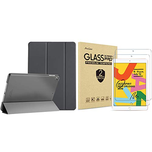 ProCase iPad 10.2 Case 2019 iPad 7th Generation Case (Grey) Bundle with 2 Pack iPad 10.2 7th Gen Tempered Glass Screen Protector