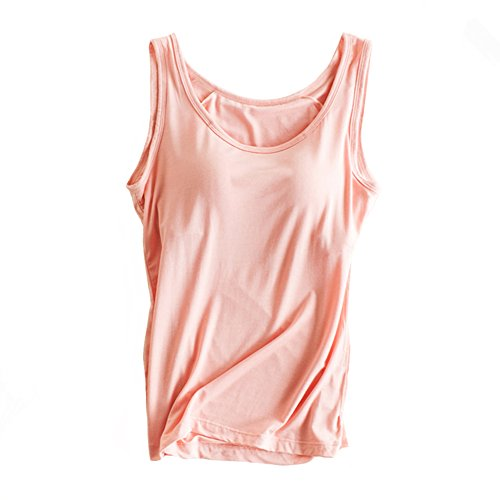 Womens Modal Built-in Bra Padded Camisole Yoga Tanks Tops Pink M
