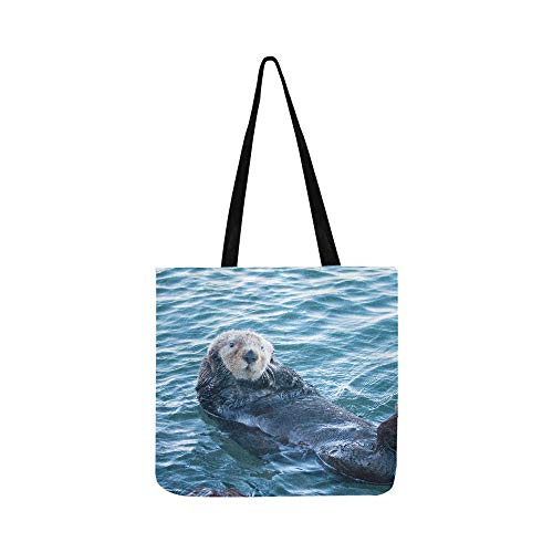 California Sea Otter in Morro Bay On The Central C Canvas Tote Handbag Shoulder Bag Crossbody Bags Purses for Men and Women Shopping Tote