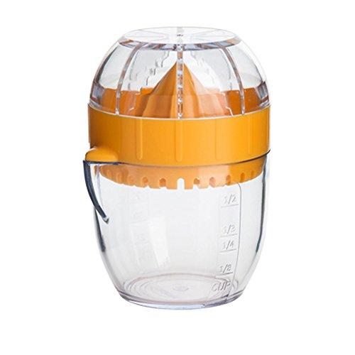 Zitronenpresse Zitruspresse Limettenpresse mit Skala, Minimeßbecher, 3tlg, Kunststoff, sonnengelb