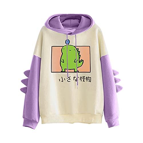 Pianshanzi Sudadera con capucha de dinosaurio para adolescentes, de gran tamaño, con capucha, de manga larga, sin bolsillos, Un lila., XXL