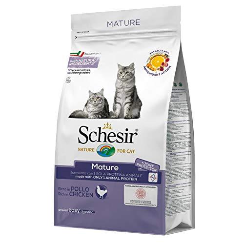 Schesir Cat Mature Monoprotein Huhn, Katzenfutter trocken für Senioren, Trockenfutter im Beutel, 1er Pack (1 x 400 g)