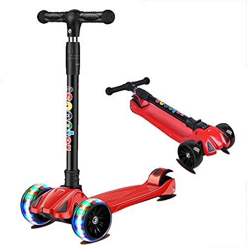 Patear Scooter 3 Scooter de la Rueda, Scooter de Altura Ajustable para niños, Magro para dirigir, LED de PU Extra Anchos, llueve, para niños y niñas de 2 años de Edad y para Arriba,Rojo
