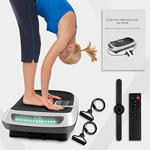 Dskeuzeew 3D Dual Motor Vibration Plate Exercise Machine - Oscillation, Vibration + 3D Motion Vibration Platform with Bluetooth Speakers and Huge Anti-Slip Surface for Home Gym Workout (White)