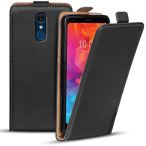 Verco Flip Cover für LG Q7+ Hülle, Flipstyle Schutzhülle für LG Q7 Plus Hülle Kunstleder Tasche vertikal klappbare Handyhülle, Schwarz