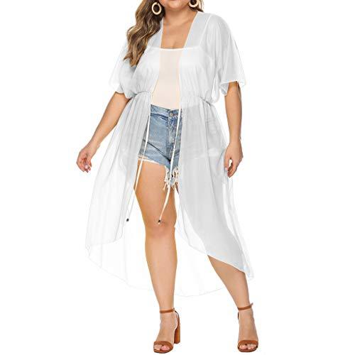 FRAUIT Damen Chiffon Kleid Große Größen Sommerkleid Kittel Mantel Cardigan Bluse Bade Strickjacke