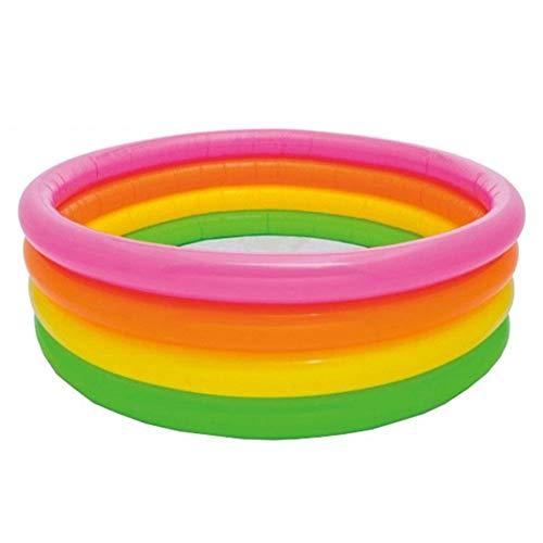 CBWZDJZDS Piscina Inflable Fluorescente para Exteriores De Cuatro Anillos Color Inflable del Arco Iris 168X46Cm
