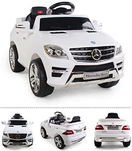 *2x MOTEURS* Original Mercedes-Benz ML 4MATIC Licence - Voiture / Véhicule électrique pour Enfant avec TÉLÉCOMMANDE Porteur Vélo (Blanc) …