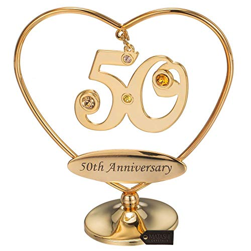Matashi 24K Gold Plated Beautiful Heart Happy Birthday or Happy Anniversary Table Top Ornament Made with Genuine Crystals (50th Happy Anniversary, Gold Plated)
