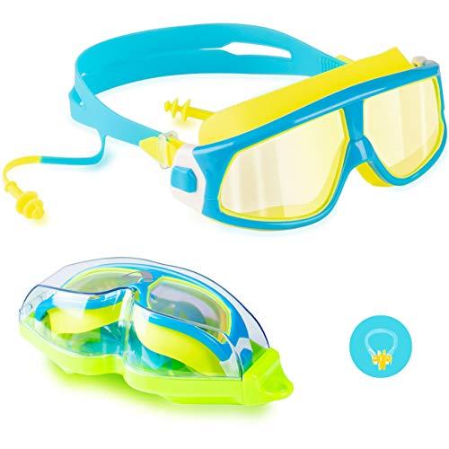 Kinder-Schwimmbrille, beschlagfrei, wasserdicht, UV-Schutz, große und klare Sicht, Schwimmbrille für Kinder, Mädchen, Jungen, frühe Teenager, Alter 3–15 Jahre