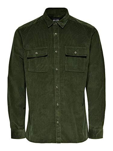 ONLY & SONS Herren Hemden onsEdward Solid Corduroy grün XS
