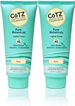 CoTZ Pure Botanicals Lightly Tinted SPF 45 Mineral Sunscreen (Pack of 2), For Body, Plant Based, With Titanium Dioxide, Zinc Oxide, Shea Butter, Green Tea and Jojoba, Reef Safe, Water Resistant, 3 oz