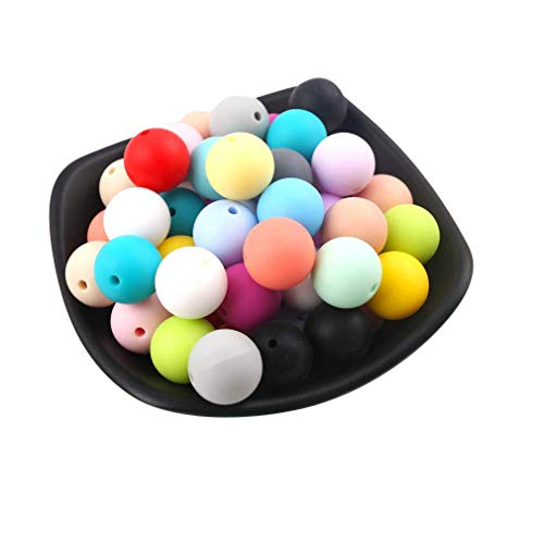 Kojoon Silicone Beads 12mm 100pc Silicone Loose Teething Beads for DIY Necklace Bracelet