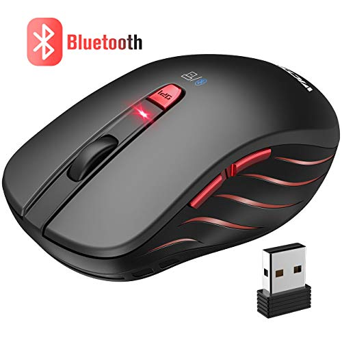 VicTsing Ratón Bluetooth Inalámbrico Portátil 4.0 & 2.4G, Wireless Mouse con Modo Dual, 5 dpi Adjustables para PC, Computadora, Tableta Andorid, Móviles Inteligentes