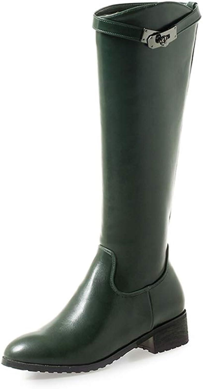Hoxekle Knee High Boots Square Heel Long Black White Women Winter Warm Zipper Casual Boot