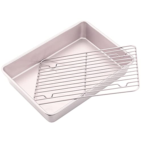CHEFMADE Roasting Pan with Rack, 13-Inch Non-Stick Rectangular Deep Dish Oven-BBQ Bakeware for Oven Baking 9' x 13' x 2.4' (Champagne Gold)