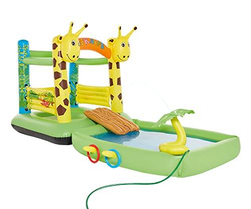 Happy People 2in1 Hüpfburg und Pool Giraffe mit Sprühfunktion Kinderbadespaß Planschbecken