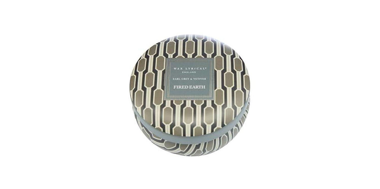 呼ぶマカダム検体WAX LYRICAL ENGLAND FIRED EARTH 缶入りキャンドル アールグレー&ベチバー CNFE0807