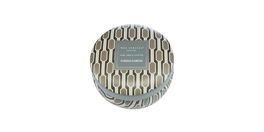 ノートウェイドバンドWAX LYRICAL ENGLAND FIRED EARTH 缶入りキャンドル アールグレー&ベチバー CNFE0807