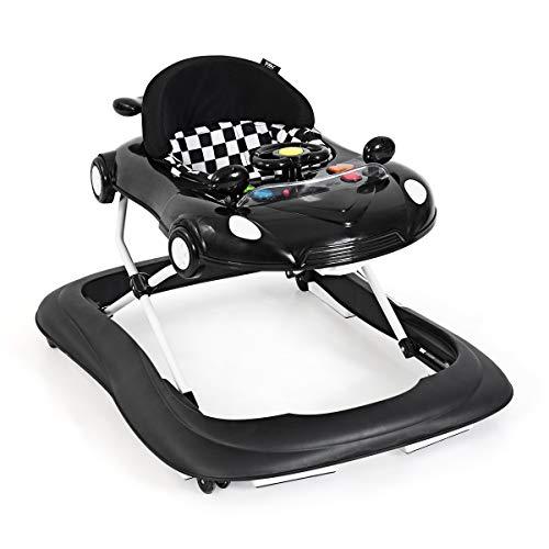 HONEY JOY Foldable Baby Walker, 2-in-1 Mobile Activity Center Walker w/Universal Wheels, Height Adjustable, Rolling Toy Car with Steering Wheel, Interactive Learning Walker for Girl Boy (Black)
