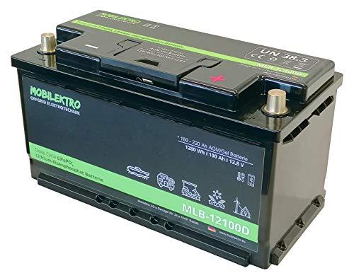 MOBILEKTRO LiFePO4 100Ah 12V 1280Wh Lithium Versorgungsbatterie mit BMS, Bluetooth, -30 °C - EQ 160Ah - 200Ah AGM, GEL Aufbaubatterie für Wohnmobil, Boot, Camping oder Solaranlage